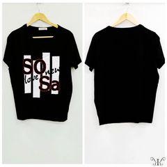 728-303272大きいサイズ☆ラインストーンプリントTシャツ☆ブラック