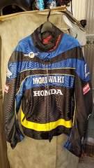 ジャンパー ジャケット HONDA モリワキ 青 メッシュ 刺繍