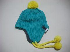 04 女 RIP CURL リップカール 耳当て ボンボン付き ニット帽 緑