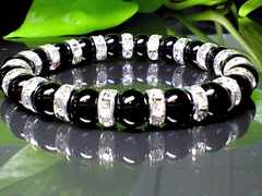 パワーストーン☆天然石!!ブラックオニキス8ミリ数珠ブレスレット§銀ロンデル
