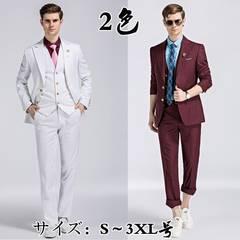 メンズ ストライプ 2つボタン 3点セットスーツ結婚式事務服MXZ14