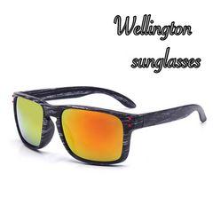 サングラス ウェリントン UV400 木目調 男女兼用 ゴールド