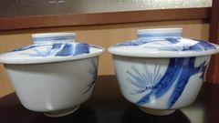 江戸期…成化年製…古平戸焼染め付け松絵蓋付茶碗…窯…印…2個