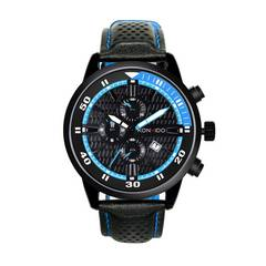 腕時計 メンズ 日本製クォーツ ブルー