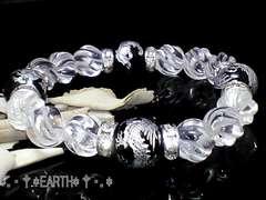天然石★12ミリ銀彫四神獣黒瑪瑙&10ミリSライン彫水晶数珠
