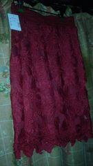 新品ミモレ丈 総レースのスカート♪ワインレッド♪フリーサイズ♪