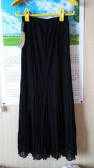 黒のロングスカート☆プリーツ加工☆S