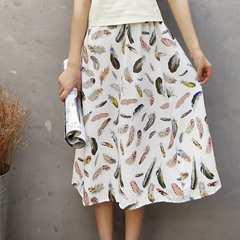 送料無料:♪新品:かわいい 羽柄のフレアロングスカート♪