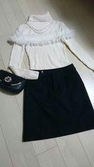 100円スタートミッシェルクラン ウール100% ブラックスカート