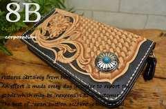◆カービングウォレット ラウンド財布 バイカー コンチョ ◆b34