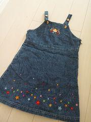 ミキハウス柔らかデニムキャミワンピース裾花刺繍サイドファスナー重ね着コーデ即決