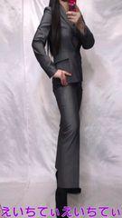 キャリア ビジネス系 微光沢/シルバーグレー パンツスーツ ����サイズ違い �F&�J