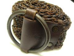 アバクロAbercrombie上質革編み込みメッシュ極お洒落なワイドベルト無段節式