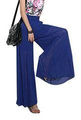 ゆったり シフォン★ スカーチョ★ワイド パンツ (XLサイズ青