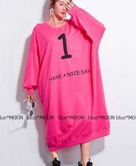 【3L4L5L6L/フリーサイズ】大きいサイズ!ロゴプリスウェットロングワンピ/ピンク