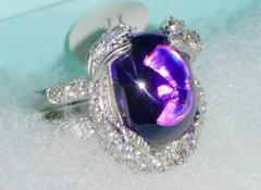 新品☆紫アメジストプラチナシルバーリング白CZ指輪*定価47500