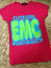 アースマジック・デカロゴ半袖Tシャツ・ピンク140