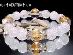 天然石★12ミリ&10ミリ金彫四神獣水晶&クラック水晶数珠