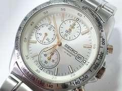 9071/SEIKOセイコー★大人気のスポーツクロノグラフメンズ腕時計シャンパンシルバー