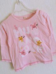 ウサギちゃん&クマちゃんTシャツ95ピンク