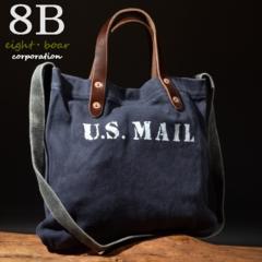 ◆牛本革×帆布 ミリタリー ショルダー&ハンドバッグ◆紺c14