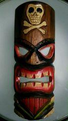 ハワイ ティキ お面 壁掛け 民芸品 木製 仮面