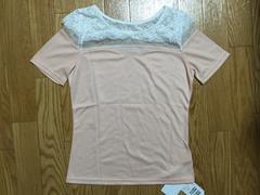 新品タグ付5292円MIIAミーアレースシースルーピンク半袖トップスTシャツ