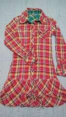 長袖シャツ膝丈ワンピース/赤×緑/チェック/リバーシブル