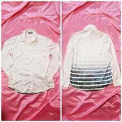 白光沢サテン青緑ブルーグリーンバックフォトプリント長袖シャツ