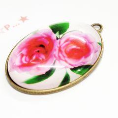 27*�@スタ*大きなガラスカボション金属チャーム 薔薇 48