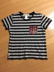 PROJECT SR'ES グレーブラックボーダーTシャツ