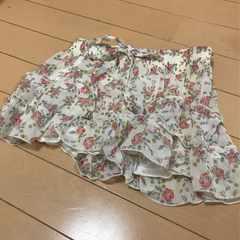 新品◆薔薇ローズ柄◆シフォン キュロットスカート◆130 140