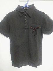 Aー132★新品★半袖刺繍デザインポロシャツ ブラック M