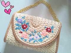 ★新品★花柄刺繍かごバッグ2wayショルダークラッチ