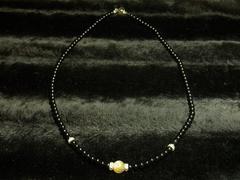ゴールドルチル×ブラックオニキス数珠ネックレス!!開運パワーストーン