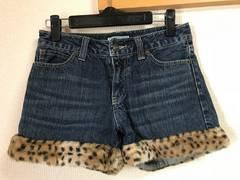 ★しまむら 裾豹柄×デニム ショートパンツ  W61★
