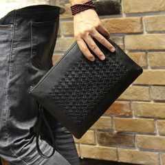 レザー 革 編み込 封筒 クラッチ バッグ タブレット 大容量