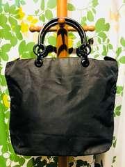 プラダハンドバッグブラックナイロンアクリルハンドルサイドロゴ