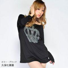 新品大きいサイズ4L〜6Lゴスロリ王冠ストーン長袖カットソー黒