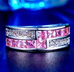 特A品 新品1円〜★送料無料★14号 ピンクダイヤ パヴェリング指輪