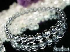 天然石4Aシルバーグレー色アクアオーラ約6ミリブレス数珠