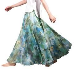 裾広幅★ヘムライン★花柄シフォン★ロングスカート(グリーン)