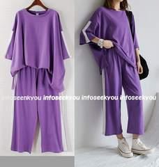 LL3L大きいサイズ/白ラインゆるTシャツ+パンツ2点セット/紫