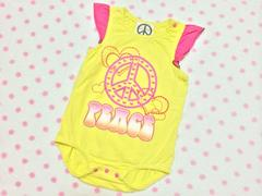 cute☆派手�AチビGAL☆ハート&PEACEプリント☆cuteロンパース80
