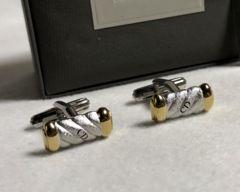 正規美レア ディオールDior CDロゴストライプカフス 金×銀 カフリンクス ボタン 付属有