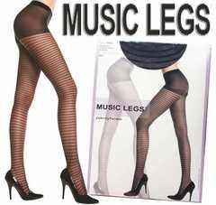 0a5)MUSICLEGSシアーボーダーストッキング黒タイツセレブ衣装ダンスダンサーパーティー