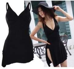 新品【6882】M(大きいサイズ)黒裾斜めワンピース水着