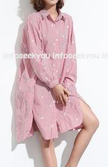 LL3L4L大きいサイズ/ストライプ&お花刺繍〜ロングシャツ/赤