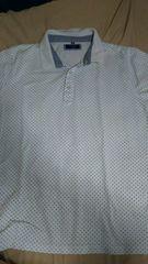 ポロシャツ 半袖 水玉柄・白色