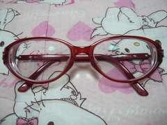 クリスチャンディオールDior眼鏡メガネ赤オーバル型